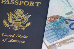 Passport to Euros Stock Photo