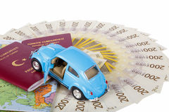 Passport, Toy Car and World Map Royalty Free Stock Photography