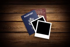 Passport. Travel Exoticism French Culture Backgrounds Document USA Stock Photo
