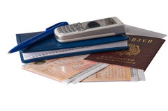 The passport and travel papers. Stock Images