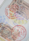 Passport with turkish visas and stamps. Page of passport with turkish visas and stamps Royalty Free Stock Photo