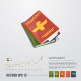 Passport with typographic design come with world globe and vario Royalty Free Stock Image
