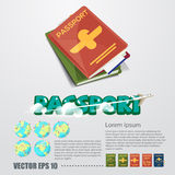 Passport with typographic design come with world globe and vario Stock Photos
