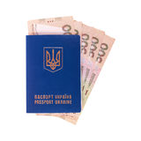 Passport of Ukraine and money. Isolated. The Ukrainian passport and the Ukrainian hryvnias on a white background.  It is isolated, the worker of paths is present Stock Photos