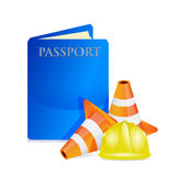 Passport under construction sign Stock Photos