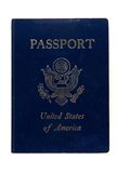 Passport United States of America. A USA passport close up lying flat and isolated on a white background Royalty Free Stock Photos
