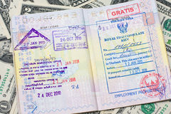 Passport with us dollar. Passport with stamps with us dollar, concept of travel royalty free stock photo