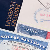 Passport, US Visa and Social Security Card Royalty Free Stock Images