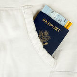 Passport of USA and boarding pass Royalty Free Stock Images