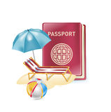 Passport with vacation icon isolated on white Royalty Free Stock Image