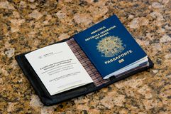 Passport with vaccination document royalty free stock image