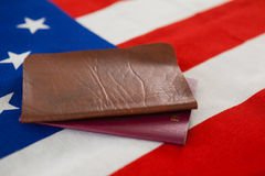 Passport and visa on an American flag. Close-up of passport and visa on an American flag stock photos
