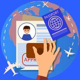 Passport or visa application. Travel immigration stamp. work permit. business and lifestyle Flat illustration,. Passport or visa application. Travel immigration Royalty Free Stock Photos