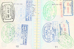Passport visa of different destinations Royalty Free Stock Photography