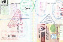 Passport visa of different destinations Stock Photos