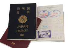 Passport and visa immigration stamps Royalty Free Stock Photo