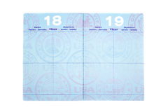 Passport with visa pages. Blank visa pages in a passport with room for copy Royalty Free Stock Photography