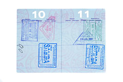 Passport with visa pages Royalty Free Stock Photo