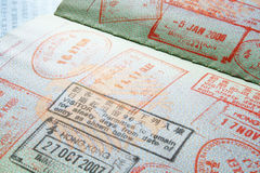 Passport visa stamps stock image