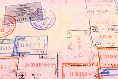 Passport visa and stamps. Close up royalty free stock photo