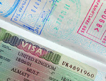 Passport, visa, stamps. Stock Photography