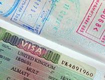Passport, visa, stamps. Stock Photography