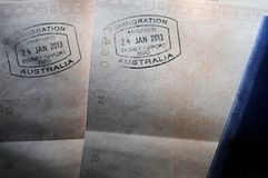 Passport Visa Stamps - Australia. Visa stamps in passports from Australia Royalty Free Stock Images