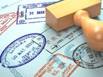 Passport with visa stamps. Travel or turism concept background stock illustration