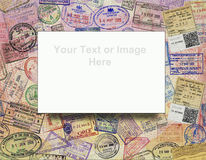 Passport Visas - Background - Add Text. Add your text or image to this background of international passport visa stamps royalty free stock photo