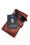Passport and wallet. Indian passport, wallet and glasses on white background Royalty Free Stock Photos