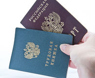 Passport work-book. Passport and work-book on a white background Royalty Free Stock Photos