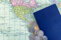 Passport on world map background stock photo