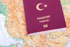 Passport on World Map Royalty Free Stock Photo