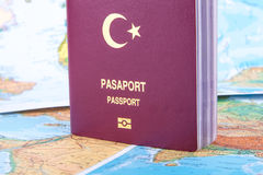 Passport on World Map Royalty Free Stock Image