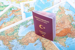 Passport on World Map Stock Photography