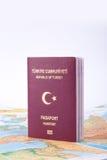 Passport on World Map Stock Photography