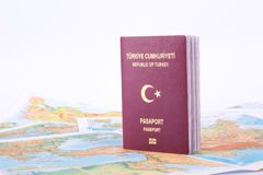 Passport on World Map Royalty Free Stock Photography