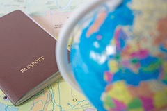 Passport on world map. Travel royalty free stock images