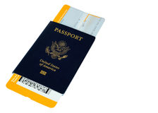 Passport with yellow boarding pass,altered, no trademarks Stock Image