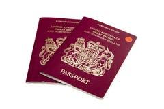 Passports. View of two British Passports on a white background stock image
