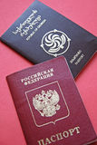 Passports. Official documents of Georgia and Russian Federation royalty free stock photography