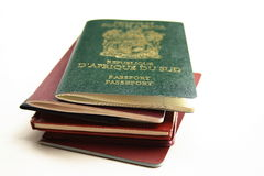 Passports. A few passport on table royalty free stock photos