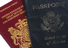 Passports. Two passports usa and united kingdom (dual Stock Photos