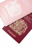 Passports. His and her british passports on white stock images