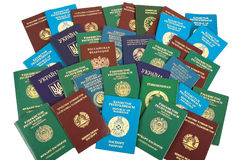 Passports background. The passports of different countries of the former USSR Stock Photography