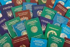Passports background. The passports of different countries of the former USSR Stock Image