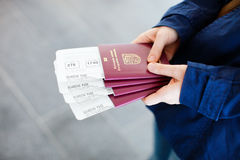 Passports and boarding passes Stock Photos