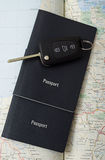 Passports and car key and map Royalty Free Stock Image