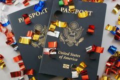 Passports with Confetti. Passports Mean Time to Party Stock Photo