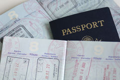 Passports with country stamps Royalty Free Stock Photo